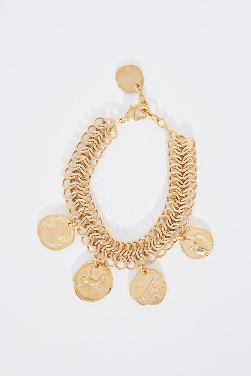 Ancient Greek Triple Chain Coins Anklet in Gold.