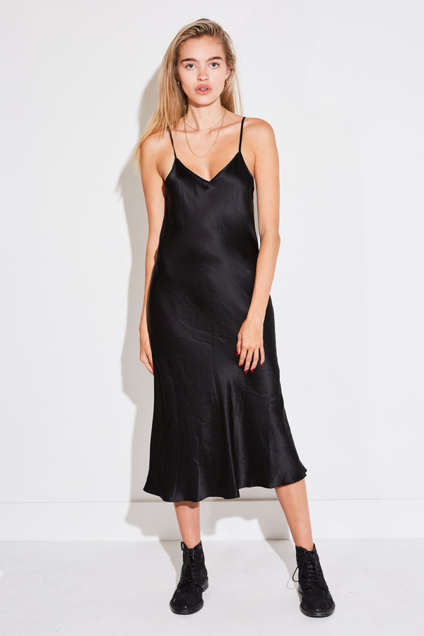 V NECK SILK DRESS IN BLACK