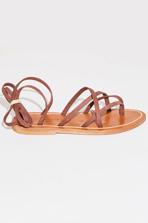 K. Jacques Zenobie Wrap Sandal in nubuck nut.