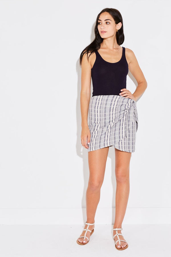 WRAP MINI SKIRT IN NAVY BLUE JACQUARD STRIPE