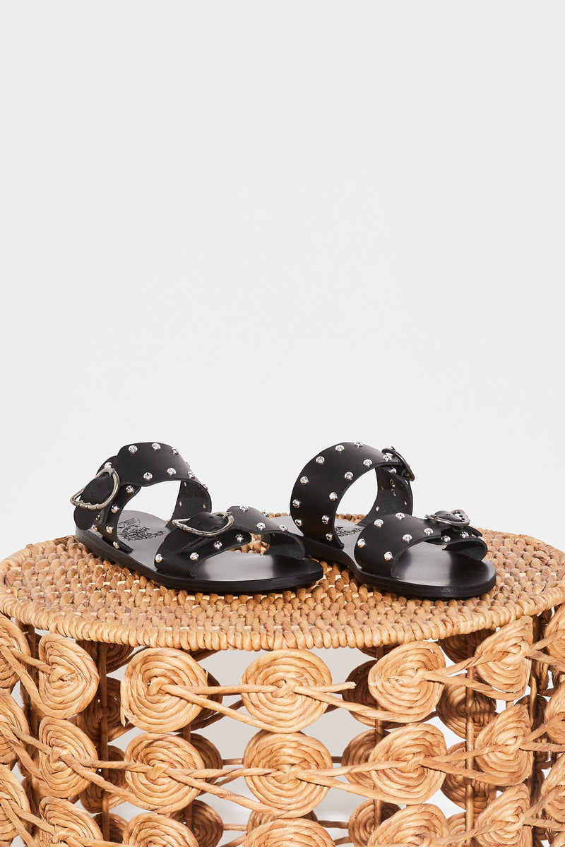 Ancient Greek Messinia Rivets Sandal in Black Leather.