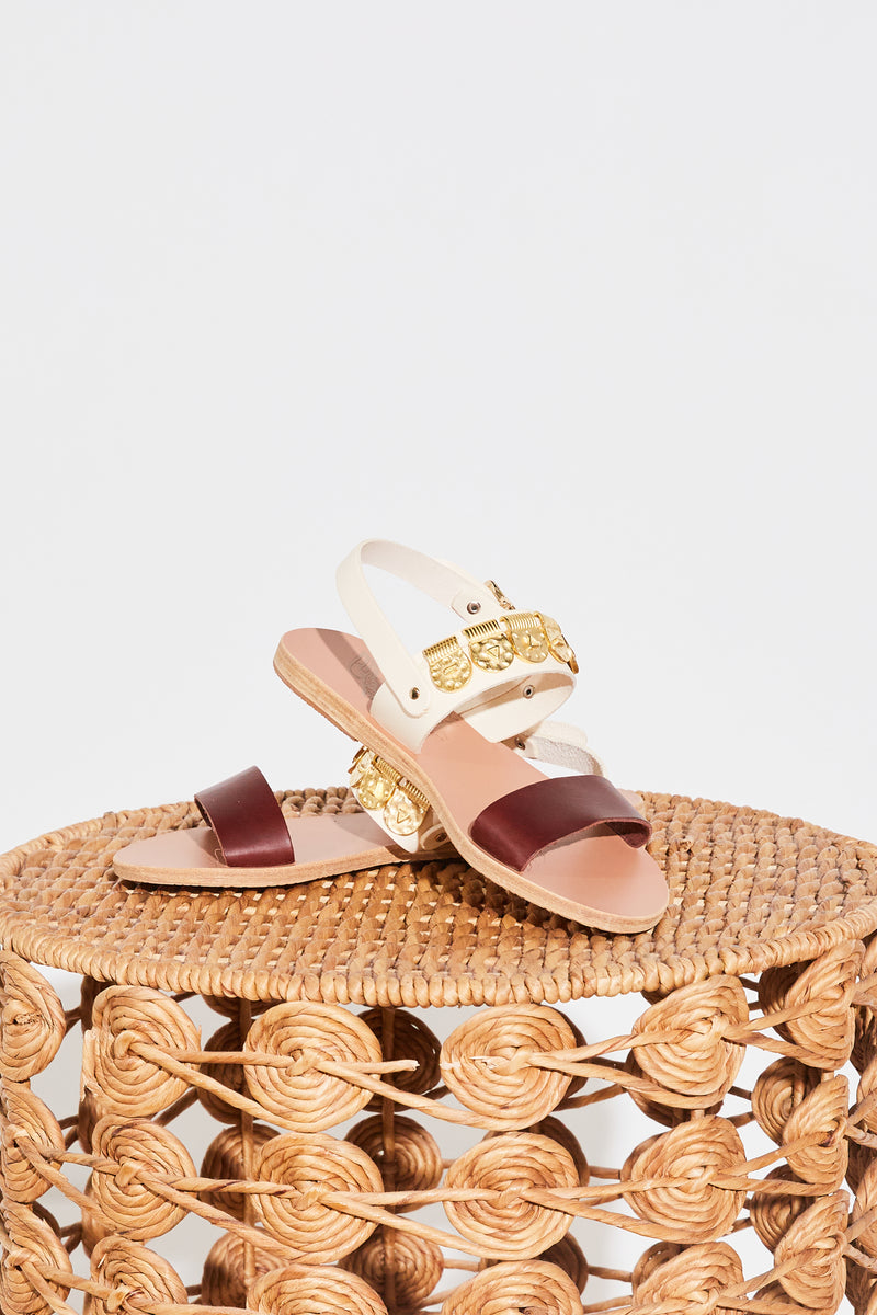 Ancient Greek Dinami Elements Sandal in Off White and Chestnut.