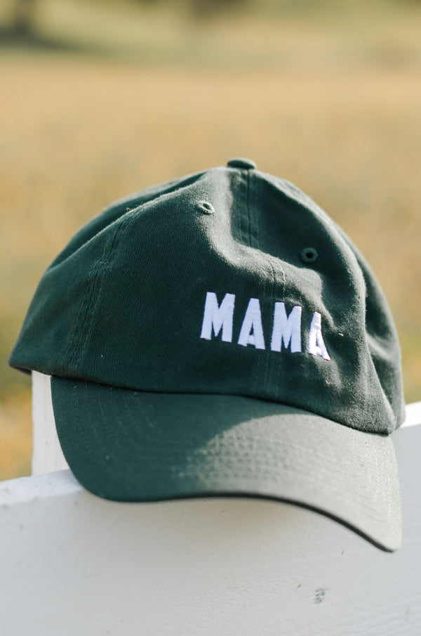 the lady & the sailor Mama Baseball Cap in Hunter Green and White embroidery.