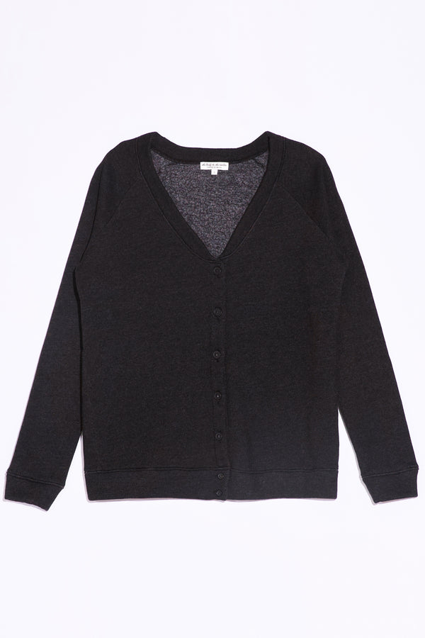 the lady and the sailor Oversized Cardi in Heather Black Fleece.