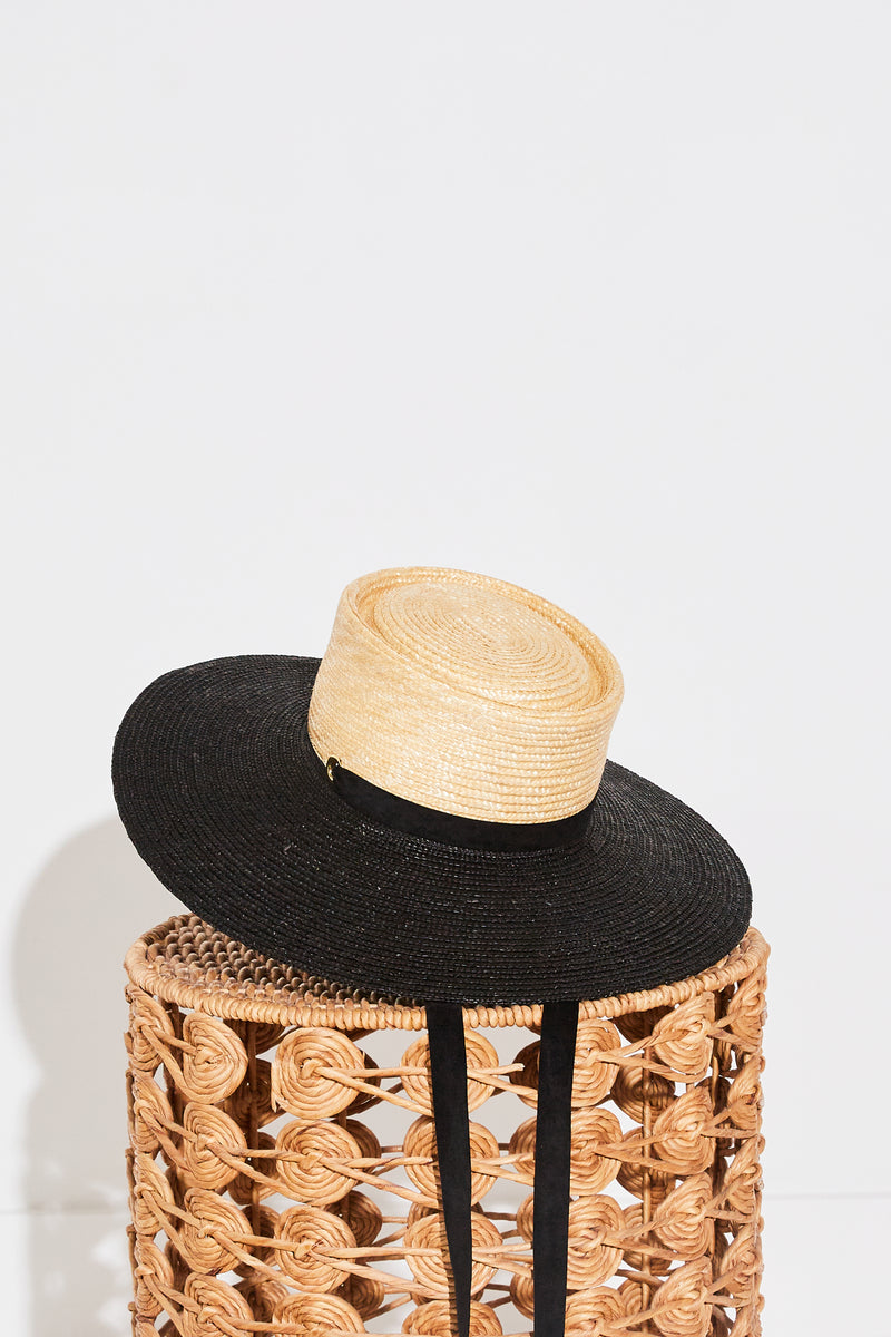 Ferruccio Vecchi Diora Gaucho Hat in Two Tone Natural and Black.