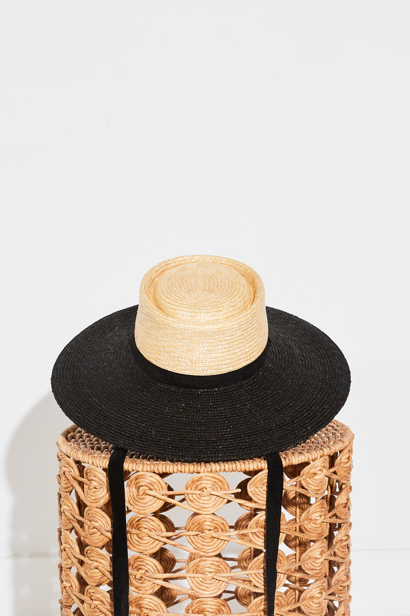 Ferruccio Vecchi Diora Gaucho Hat in Natural and Black Two Tone.