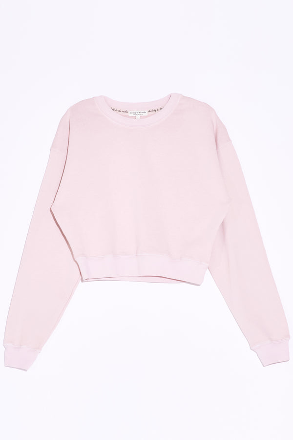 the lady and the sailor Cropped Sweatshirt in Rose Organic Cotton.