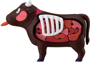 MegaHouse Cow Anatomy 3D Puzzle Steak Organs Bones Cuts Game Japanese Version