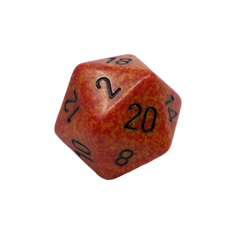 OVERSIZED 34mm D20 Dice: Speckled Fire w/ Black Numbering 1pk  ||  Chessex Dice