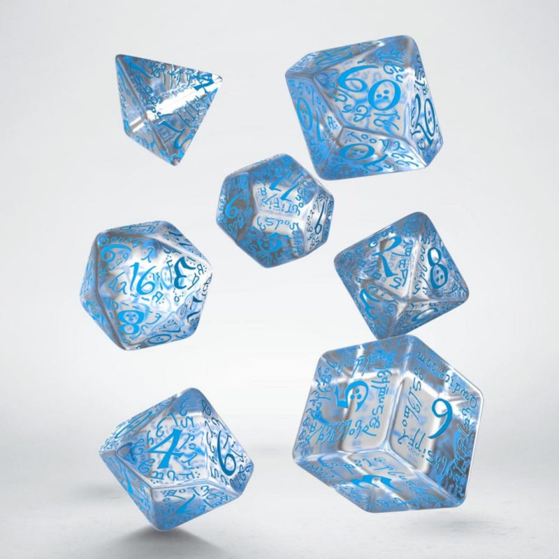 dnd dice - elvish translucent with blue numbering