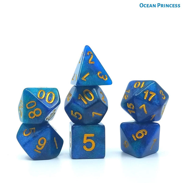 DnD Dice - Ocean Princes - Green & Blue Galaxy Dice with Gold Numbers