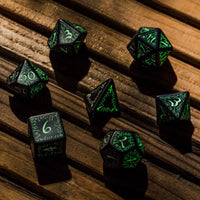 elvish dnd dice - black with glow in the dark numbers