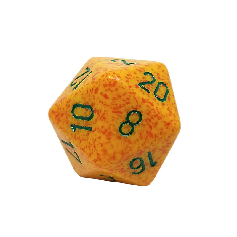 OVERSIZED 34mm D20 Dice: Speckled Lotus w/ Green Numbering 1pk  ||  Chessex Dice