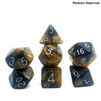 DnD Dice - Princely Ambition - Black Gold Glitter