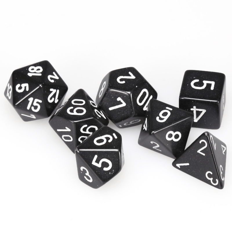 opaque black with white numbers - dnd dice