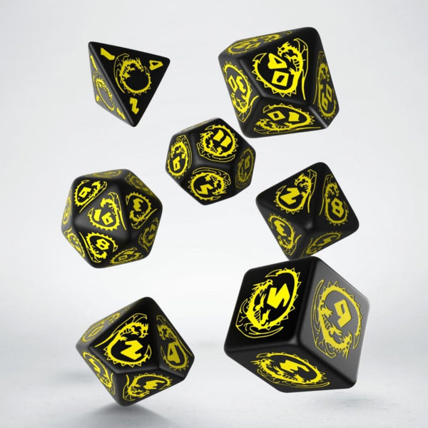 qworkshop dnd dice - black and yellow dragon motif