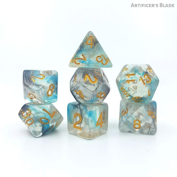 D&D Dice Set - Artificer's Blade - Black & Teal Swirls