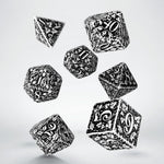 white forest dice with black engraving