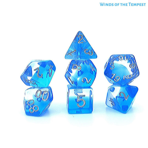 DnD Dice - WInds of Tempest - Gradient Blue Transparent