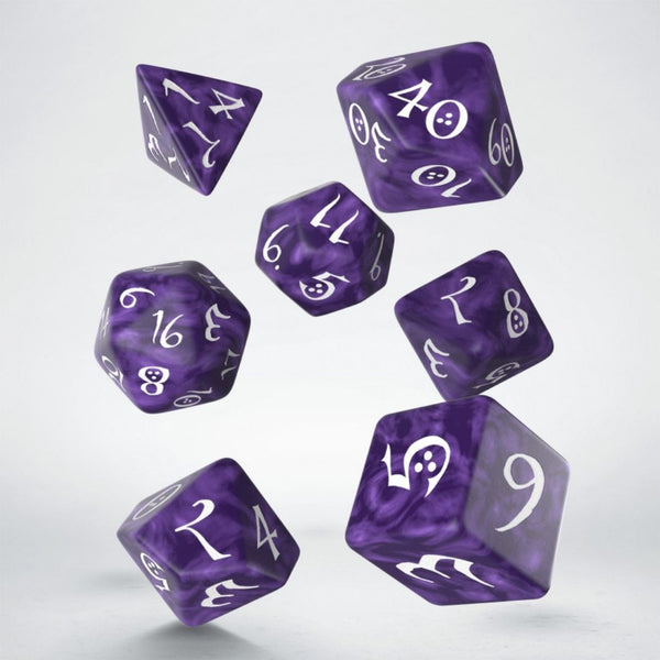 dnd dice - purple with white numbering