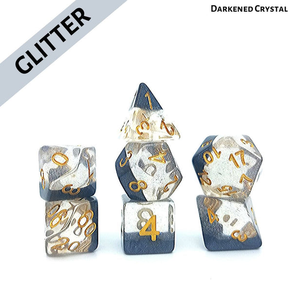 RPG Dice Set - Darkened Crystal - Glittery Click Clacks