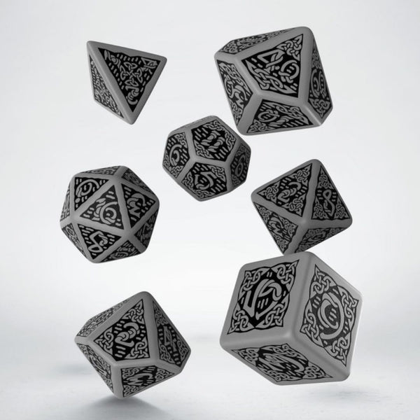 grey celtic dice with black numbers