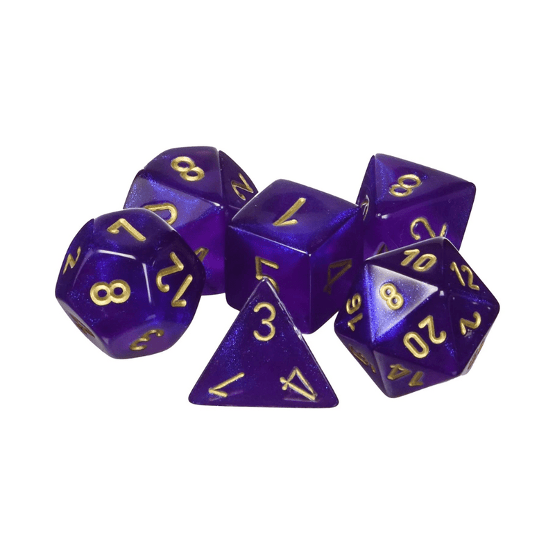 CHX27467 borealis royal purple with gold numbers dice