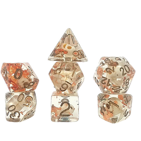 dnd dice - skulls and copper leaf