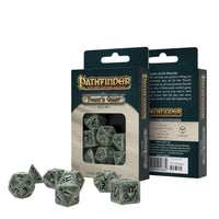 pathfinder dice - ghost green marbling with black numbering