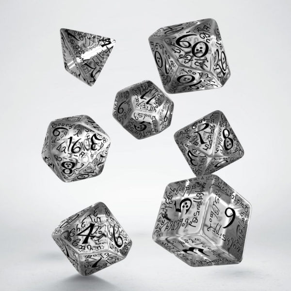 elven dnd dice - translucent with black numbers