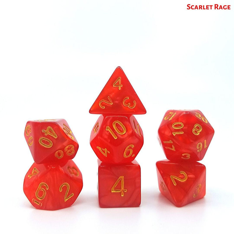 D&D Dice Set - Scarlet Rage - Red with Gold Numbers