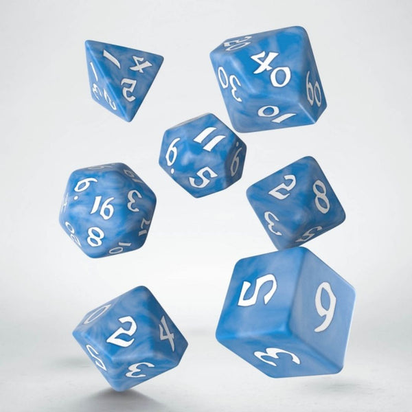 classic blue runic dice with white numbers