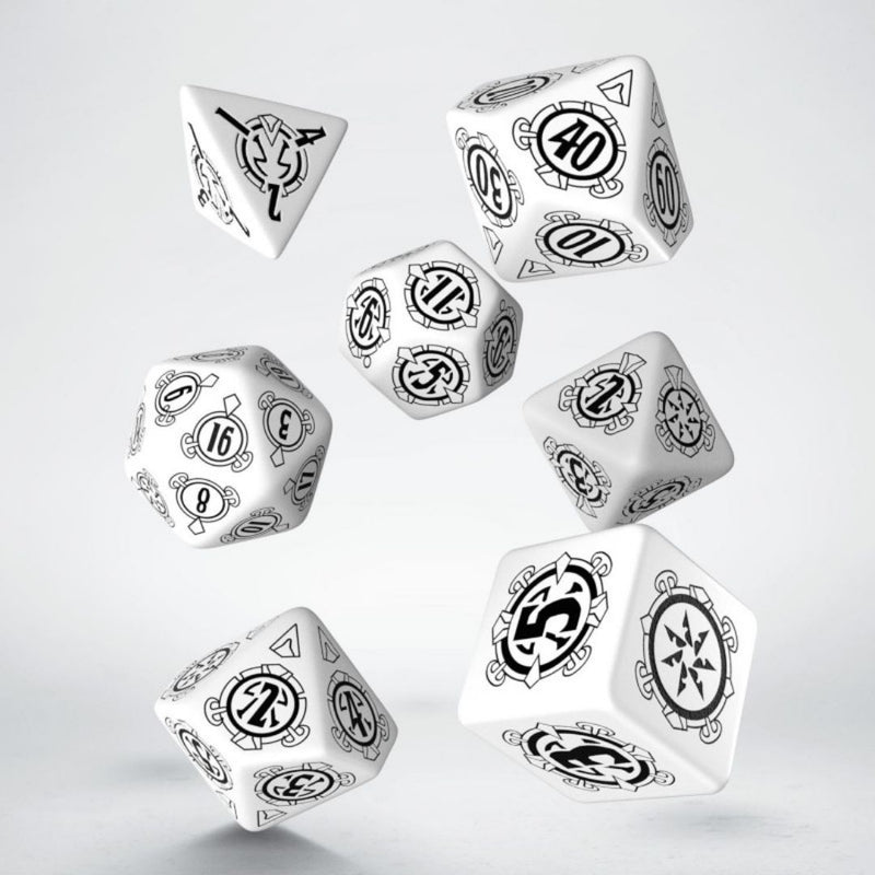 pathfinder shattered star dice - white with black numbers