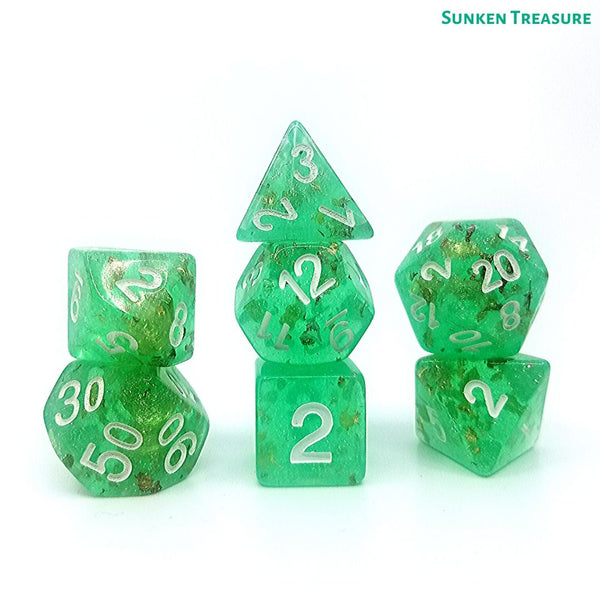 DnD Dice - Sunken Treasure - Gold Foil Glitter