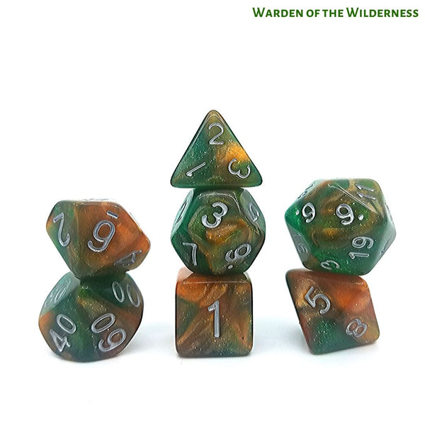 RPG Dice - Warden of the Wilderness - Green Brown Glitter