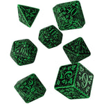 green forest dice with black engraving