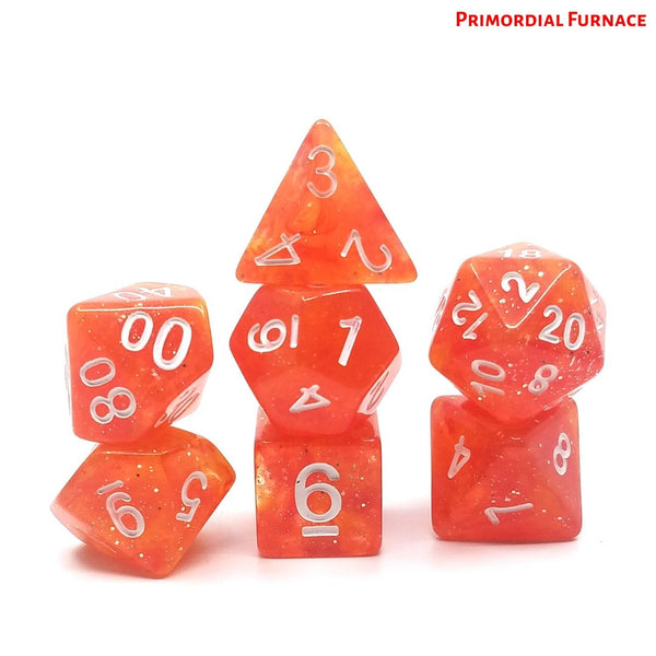 DnD Dice - Primordial Furnace - Opaque Red & Yellow Galaxy with Silver Glitter