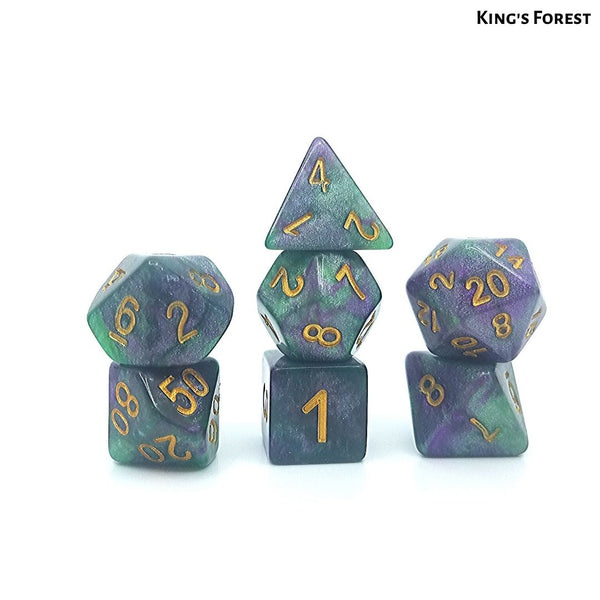 D&D Dice Set - King's Forest - Green & Purple Click Clacks