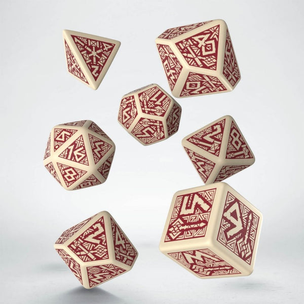 dwarven dice beige with burgundy numbers