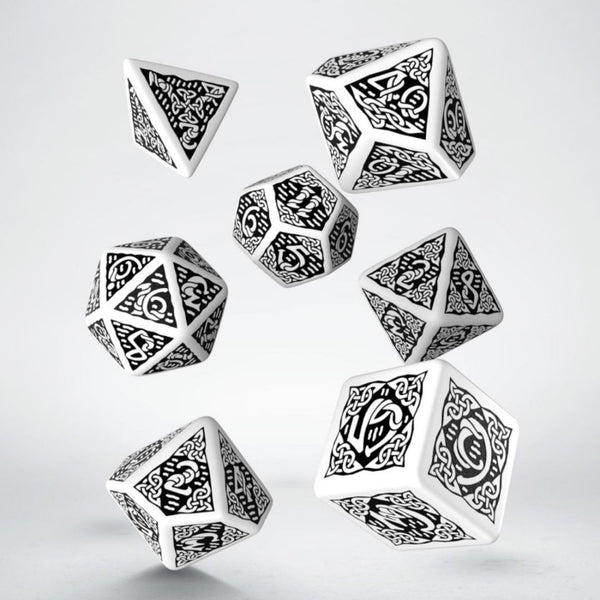 white celtic dice with black numbers