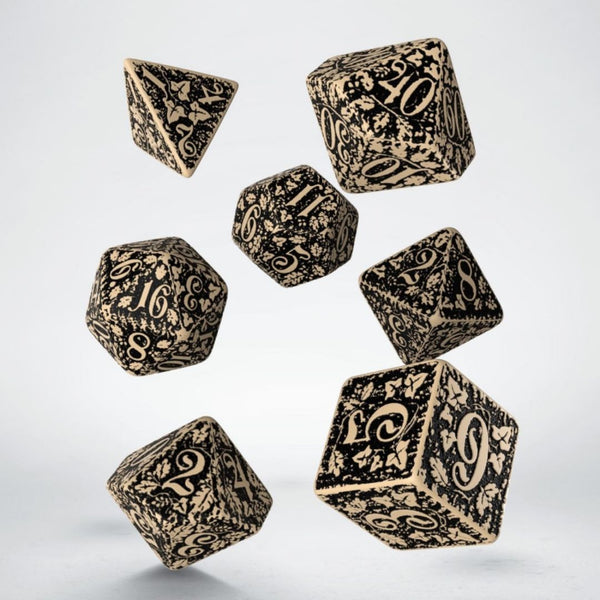 forest beige dice with black engraving