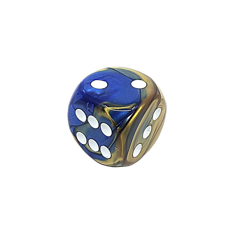 OVERSIZED 30mm D6 Dice: Gemini Blue-Gold w/ White Pips 1pk  ||  Chessex Dice