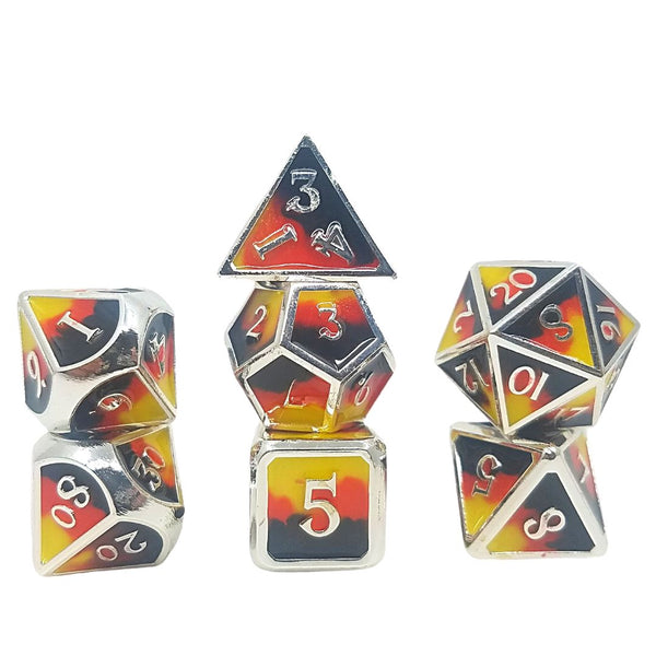dnd dice - red yellow black silver trim - metal dice set