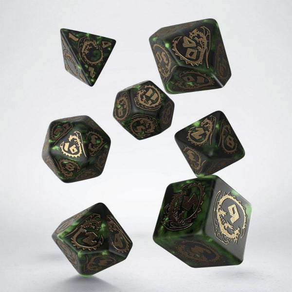 qworkshop bottle green dice with gold numbering