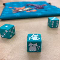 dnd dice with kitten motifs