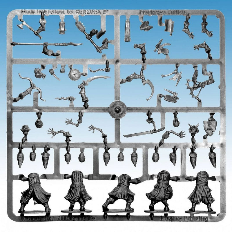 frostgrave cultists - Plastic DND minis - sprue frame