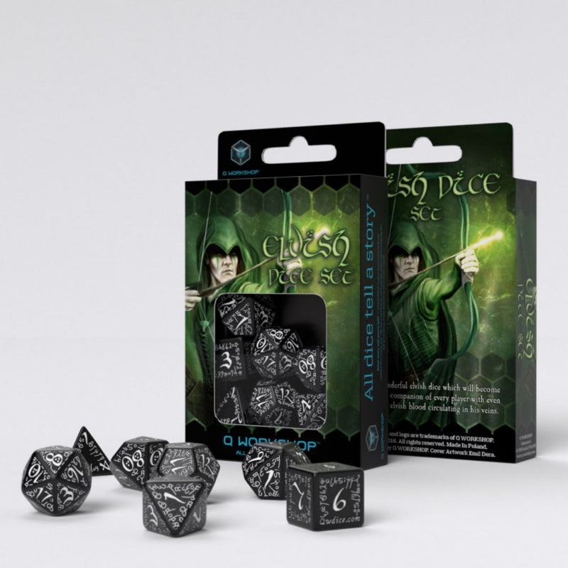 Elvish Dice: Black w/ White Numbering  ||  Q WORKSHOP