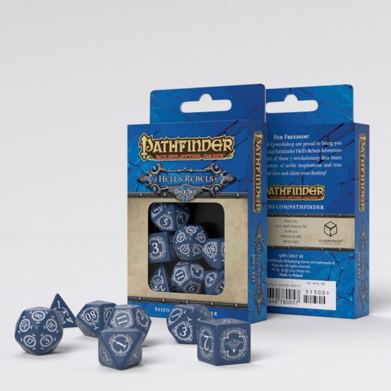 pathfinder hells rebels dice - blue with white numbers