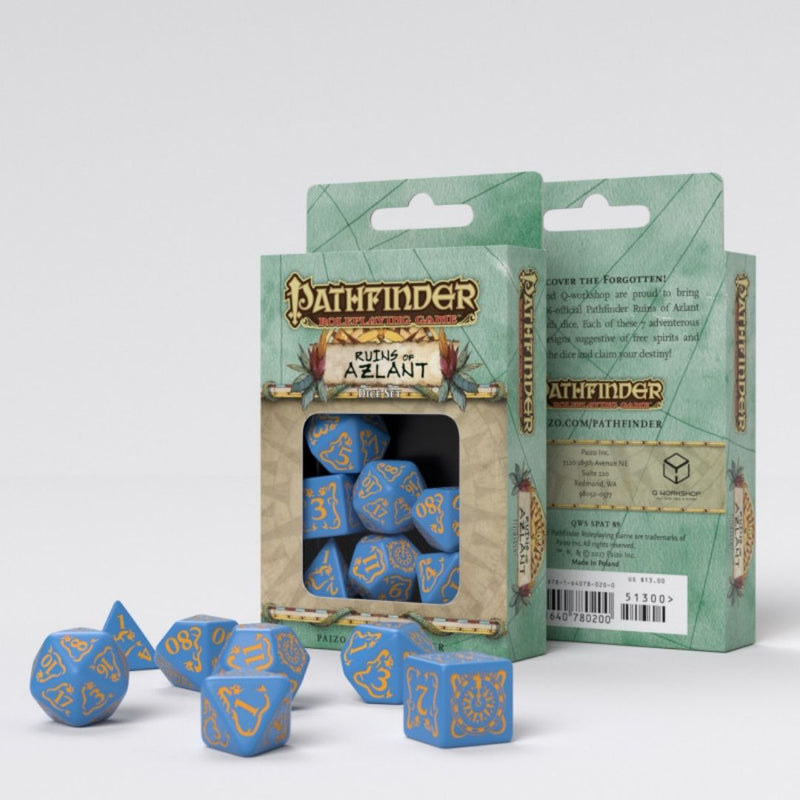 pathfinder azlant dice - blue with yellow numbers