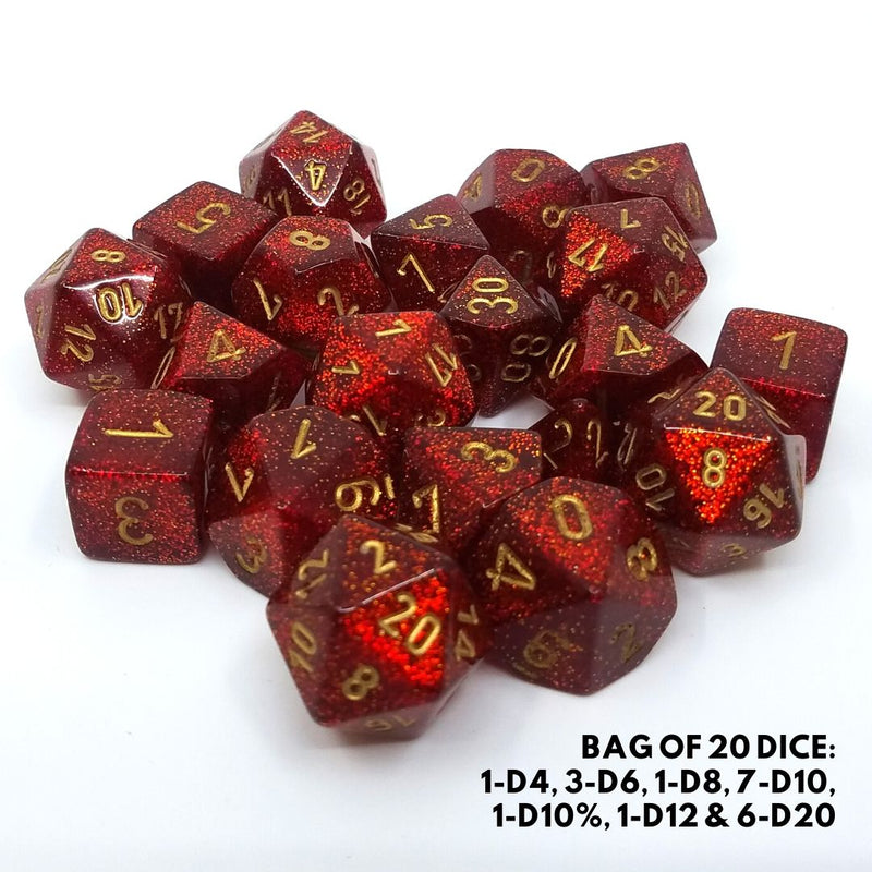 ruby glitter dice with gold numbers - bulk chessex